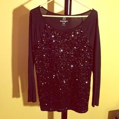 Long sleeved sequined top. Simple but fun long sleeved top. All black with sequins on the front. Size M. Old Navy Tops Tees - Long Sleeve