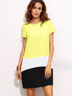 Shein Color Block Cut And Sew Dress