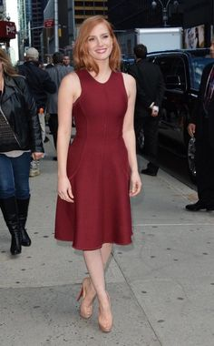 Jessica Chastain Burgundy Party Dress AOL's Build Speaker Series Crimson Peak 2015 - TheCelebrityDresses Celebrity Outfits, Celebrity Style, Celebrity Photos, Actress Jessica, Michael Kors Collection, Fashion Group, Women's Fashion, Jessica Chastain, Nice Dresses