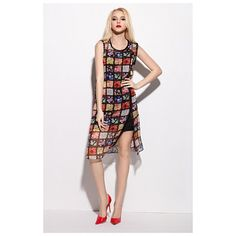 Multi Coloured Sleeveless Floral Print Chiffon Overlay Dress