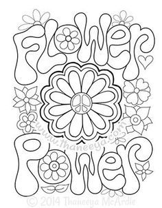Flower Power Coloring Pages Best Of Peace and Love Coloring Book by Thaneeya Mcardle Coloring Pages For Grown Ups, Love Coloring Pages, Free Adult Coloring Pages, Printable Coloring Pages, Coloring Sheets, Coloring Books, Hippie Party, Frise Chrono, Flower Power Party