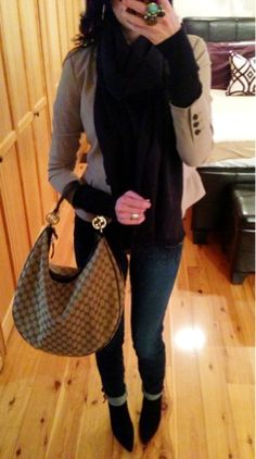 ankle boots and Gucci bag