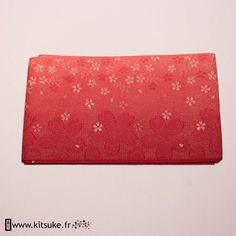 Hanhaba Obi rouge dégradé motif fleur kitsuke