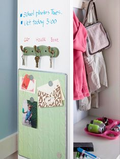 Create a Communication Zone.  Squeeze essential tools for communication into a sliver of wall space near a door -- or mount everything to a cabinet's exterior. To recreate this message center, hang a magnetic memo board for notes, attach a series of small hooks for keys, and paint the wall or cabinet with high-gloss latex paint and leave messages using dry-erase markers