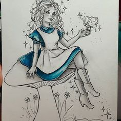An Alice illustration done as Day 3 of @misswickedgoats #inktober challenge created with their Chameleon Pens.   #inktober2016 #chameleonpens #ink #led #shading #art #challenge #blue #blues #dress #hair #shoes #butterfly  #butter #toast #fly #insect #mushroom #book #magic #freckles #girl #fantasy #aliceinwonderland