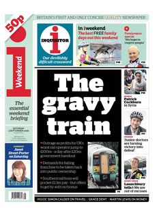 """""""Saturday's i front page: The gravy train Junior Doctor, News Online, Bbc News, We The People, Newspaper, Britain, Gravy, September, Sunday"""
