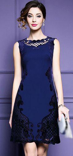Elegant O-Neck Hollow Out Sleeveless A-Line Dress