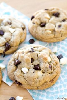 {Thick and Chewy} Triple Chocolate Chip Cookies | Delish.:
