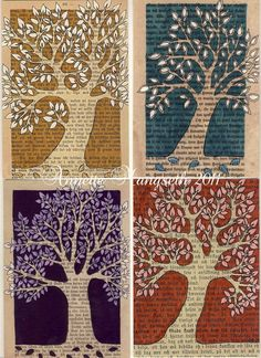 Postcard set Trees by carambatack on Etsy