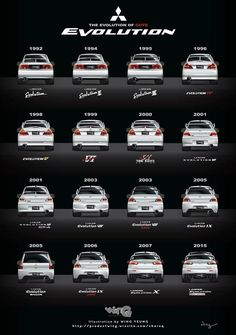 History of Evo's Japanese Sports Cars, Mitsubishi Motors, Evo X, Mitsubishi Lancer Evolution, Japan Cars, Jdm Cars, Wrx, Car Car, Custom Cars