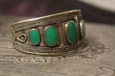 Tribal silver cuff bracelet old Kuchi jewelry by AnotherSeason
