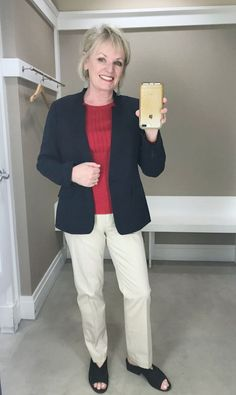 Jennifer of A Well Styled life wearing Talbots classic chino's sweater and blazer By A Well Styled Life #styletip #fashionover50 #casualstyle #casualfashion #fashion #fashionoutfits #fashionstyle #over50 #over50fashion