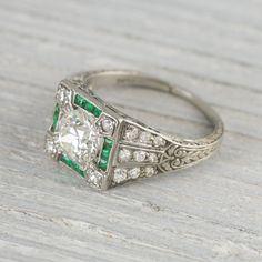 Image of 1.01 Carat Art Deco Vintage Emerald & Diamond Engagement Ring