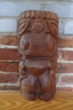 Vintage Heavy Handcarved Wooden Tiki Tribal by retrowarehouse