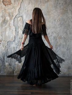 """Купить Авторское платье """"Black lace"""", БОХО, кружево хлопок - черный, черное платье"""