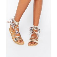 ASOS FICUS Leather Tie Leg Sandals ($34) ❤ liked on Polyvore featuring shoes, sandals, gold, tie shoes, metallic strappy sandals, metallic shoes, metallic sandals and leather caged sandals
