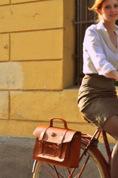 leather bicycle pannier by Bike Belle