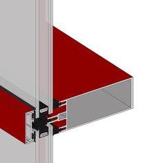 Muro Cortina R50T - Lo que caracteriza a este modelo es el elemento embellecedor o tapeta que cubre las fijaciones del vidrio. Existen diferentes posibilidades morfológicas para esta pieza, que puede convertirse en elementos distintos, tanto en los montantes como en los travesaños: Brise soleil y partesoles.
