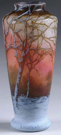 Daum Nancy Fire and Ice Vase Art Nouveau, Design Floral, E Design, Antique Glass, Antique Art, Glass Ceramic, Ceramic Art, Vases, Art Deco Glass