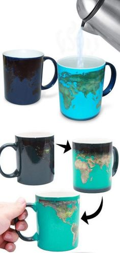 "Changes from ""Day"" to ""Night"" via temperature Things To Buy, Stuff To Buy, Cool Stuff, Mein Style, Cool Gadgets, Gadgets And Gizmos, Cool Mugs, Bule, Mug Cup"