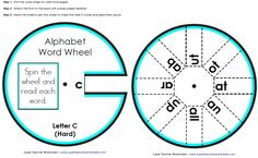 Cut the word wheel and attach both parts with paper fasteners.  Then spin to read the sight words.  STW has word wheels for each letter of the alphabet.  Check 'em out.