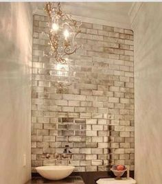Silver Antiqued Mirrored Mirror Wall Tiles Suitable Bathroom Bedroom Kitchen