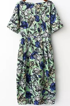 Green Short Sleeve Floral Pockets Dress pictures