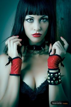 #Goth girl with red wrist warmers