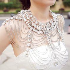 Sparkly Crystal Wedding Shoulder Neckline Rhinestone Body Chain Bridal Jewelry