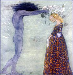 "Agneta and the Sea King"" by John Bauer    (Source: Flickr / picture-perfect-designs-jewelry) Norwegian Design, Folklore, King John, John Bauer, Sea Queen, Fantasy Art, Dream Fantasy, Arthur Rackham, Vernal Equinox"