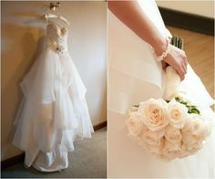 Organza Jewish Wedding Dress & Bridal Bouquet of Ivory Roses {H&H Photographers} - mazelmoments.com