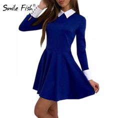 2018 Autumn Sexy Party Dress Winter Cute Women Turn-Down Collar Casual  Dresses Elegant Long Sleeve Office Mini Dress GV445 a7fd03d26457