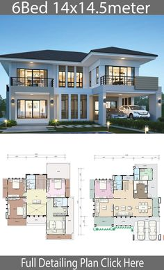 Home design plans House design Modern house plans Home design plan House Two story house plans House design plan with 6 bedrooms Home Ideas Sims House Plans, House Layout Plans, Dream House Plans, House Layouts, House Design Plans, Modern House Floor Plans, Duplex House Plans, Open Plan House, Modern Home Plans