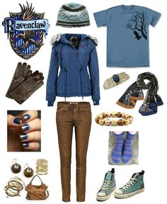 Ravenclaw (I'm not a Ravenclaw but I like this look!)>>>I'm Ravenclaw Harry Potter Mode, Harry Potter Style, Harry Potter Houses, Harry Potter Outfits, Harry Styles, Harry Potter Kleidung, Mode Geek, Character Inspired Outfits, Fandom Fashion