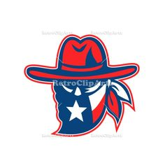 Texan Outlaw Texas Flag Mascot Vector Stock Illustration   Retro style illustration of a mascot showing a Texan outlaw or bandit wearing bandana with Texas Lone Star flag on isolated background. #illustration   #TexanOutlawTexasFlag