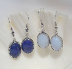 Gemstone and sterling silver earrings by ParkhillDesigns on Etsy