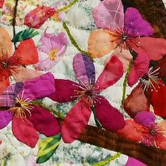 Blessed Season detail by Lin Hsin Chen | Fifteen by Fifteen art quilt group. Commercial cottons, dyed fabrics, silk, satin, nylon fiber, woolen yarn, glitter, ribbon, 100% hand-stitched.