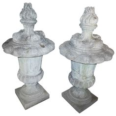 A Cast Stone Pair of Finials |