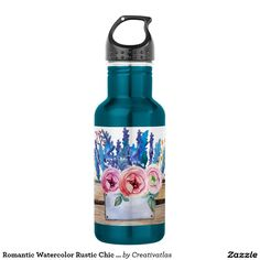 Romantic Watercolor Rustic Chic Floral Bouquet Stainless Steel Water Bottle   Kitchen decor ideas   affordable home decor   home & decor   Tea pots   country kitchen accessories   Gifts for her   Gifts for moms   home decor gifts   kitchen decor   Gifts f