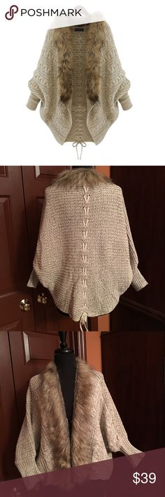 Beige Cardigan with faux fur collar One size fits most, batwing cardigan runs small brand new without tags, cute and cozy, material: wool Sweaters Cardigans