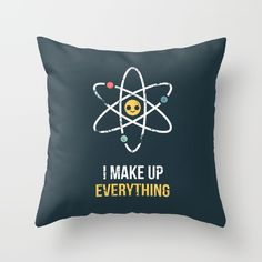 Never Trust an Atom Throw Pillow - Atom, electrons, protons, science, nerdy, nerd, geek, scientist, chemistry, physics, drawing, illustration, art, design, cartoon, vector