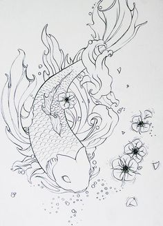 Koi Lineart by Metalmaid on DeviantArt can find Deviantart and more on our website.Koi Lineart by Metalmaid on DeviantArt Fish Drawing Outline, Koi Fish Drawing, Fish Drawings, Art Drawings Sketches, Tattoo Drawings, Tattoo Outline, Sketch Drawing, Tattoo Sketches, Tattoo Art