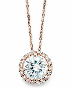 B. Brilliant 18k Rose Gold over Sterling Silver Necklace, Cubic Zirconia Round Pave Pendant (2-1/5 ct. t.w.) - Necklaces - Jewelry & Watches...