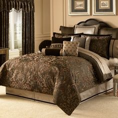 Transform your bed into an eye-catching focal point or a serene place to lay your head with Bed Bath & Beyond's selection of comforter sets. Clean Bedroom, Home Bedroom, Bedroom Decor, Bedroom Comforter Sets, Bedroom Sets, King Comforter, Suites, Cool Beds, Beautiful Bedrooms