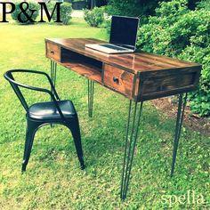 Modern Sleek industrial wood desk on hairpin by PoppetsandMoon