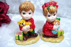 Vintage Lefton Porcelain Christmas Boy and Girl Figurines holding Doll and Bear – So Sweet!