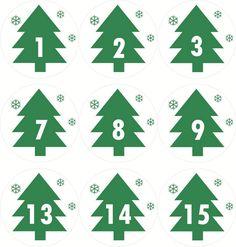 Cedulky nebo samolepky k adventnímu kalendáři
