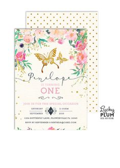 Butterfly Birthday Invitation / Pink and Gold First Birthday