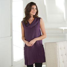 Sleeveless Linen Cowl-Neck Tunic Top $59.98 Nice to wear after baby comes its loose fitting and has two nice sized pockets to hold little baby things you might need like a pacifier