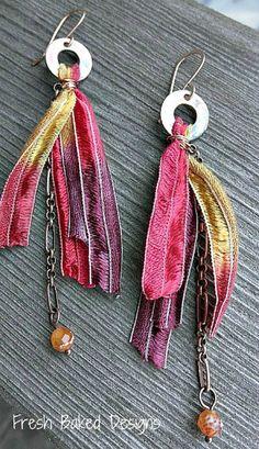 Silk Fringe Earrings. I'm still debating ordering some Sari ribbon. I wonder if any silk ribbon would do.